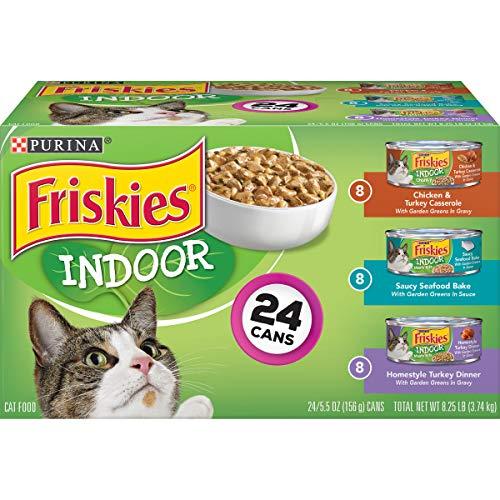Purina Friskies Indoor Wet Cat Food Variety Pack, Indoor – (24) 5.5 oz. Cans