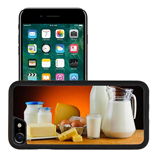 Liili Apple iPhone 7 iPhone 8 Aluminum Backplate Bumper Snap iphone7/8 Case iPhone6 IMAGE ID: 20165248 still life with organic dairy products milk cheese butter and eggs