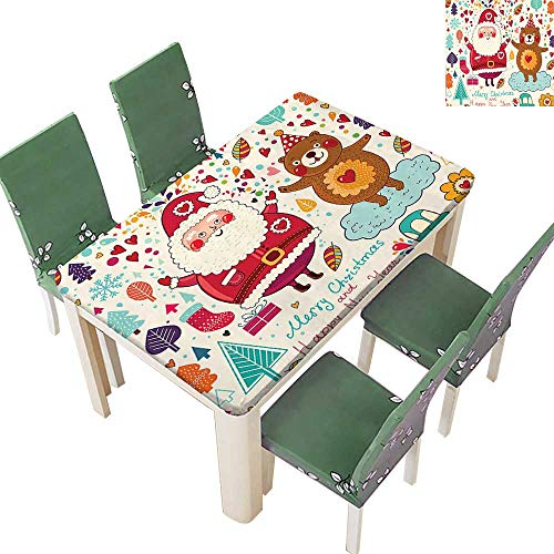 Printsonne Fitted Polyester Tablecloth Merry Santa and Teddy Bear Vintage Christmas Ornaments Party Kids Room Nursery Washable for Tablecloth 54 x 72 Inch (Elastic Edge)