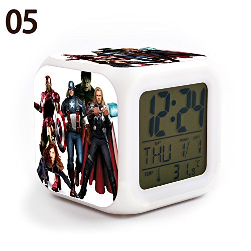 The Avengers Team Iron Man, Hulk, Captain America, Thor, Black Widow and Clint Barton 7 Colors Change Digital Alarm LED Clock Cartoon Night Colorful Toys for Kids (Style 5)