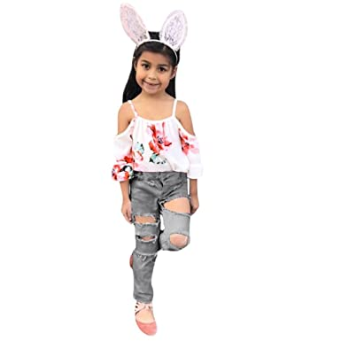 724e192dc4a Amazon.com: Minisoya Toddler Kids Baby Girls Floral Flare Sleeve Off  Shoulder T-Shirt Tops Denim Pants Ripped Hole Jeans Outfit Set: Clothing