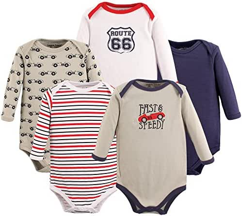 Luvable Friends Baby Unisex Long Sleeve Bodysuits, 5-Pack
