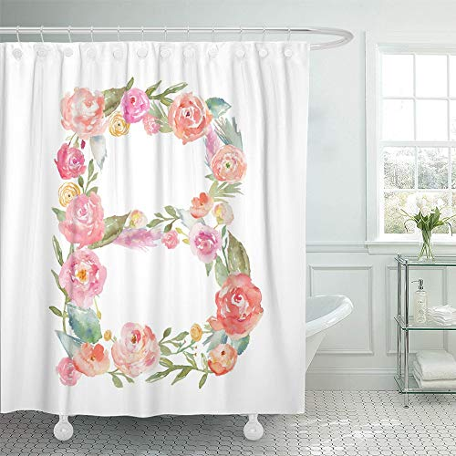 Emvency Shower Curtain Waterproof Adjustable Polyester Fabric Colorful Made Watercolor Floral Monogram Letter B Alphabet Flowers Initial White 60 x 72 Inches Set with Hooks for -