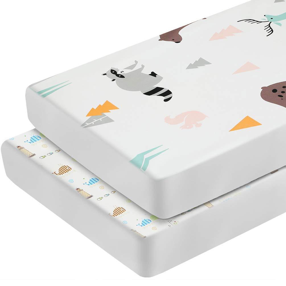 2 PCS Pack N Play Sheets Portable Crib Sheets Set Unisex Playard Mattress Cover for Baby Girls Boys