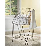 KINDWER Vintage Wire Laundry Basket Hamper