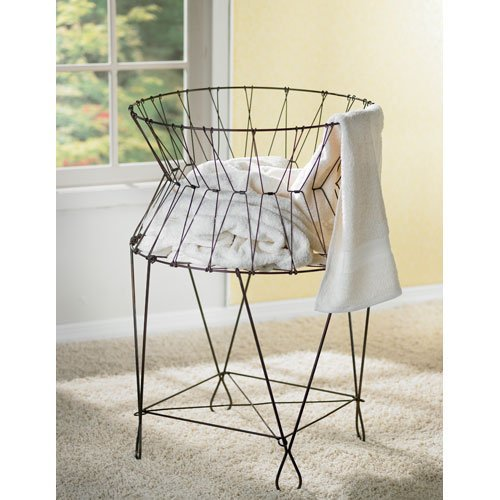 KINDWER Vintage Wire Laundry Basket Hamper (Metal Hampers)