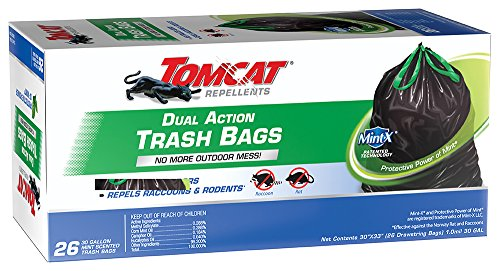- Tomcat 492826 Dual Action Trash Bag, 26 Count, 30 Gallon, Black