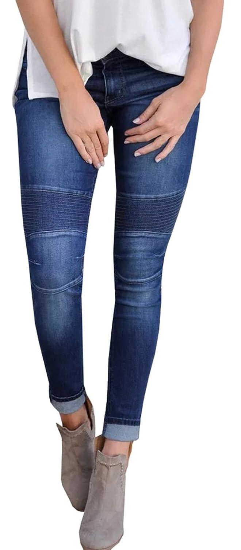 052f914de15 Ybenlow Women s Vintage Washed Low Rise Stretch Denim Skinny Jeans Pants