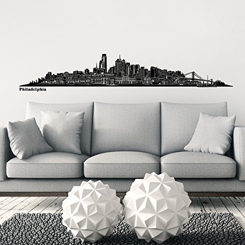 Wandkings® Skyline wall sticker wall decal - 48.8 x 7.9 inch in black - Your city selectable - PHILADELPHIA - Logan Wall Mirror