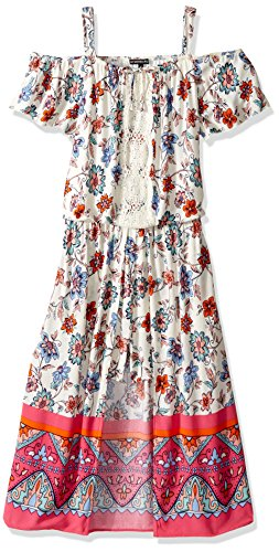 My Michelle Big Girls' Cold Shoulder Romper Maxi Dress wi...