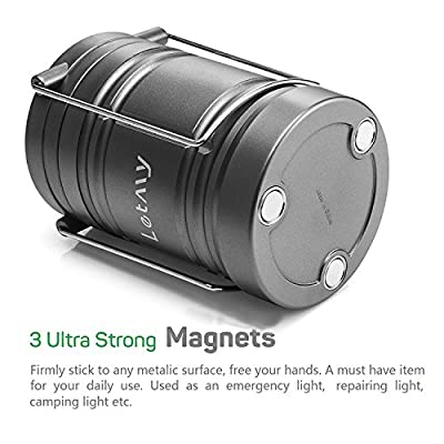 LETMY Camping Lantern with Batteries - Magnetic Base - New COB LED Technology Emits 500 Lumens - Collapsible, Waterproof, Shockproof LED Lantern with Detachable Handles