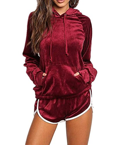 (Sorrica Women's Soft Velour Tracksuit Athletic 2 Pieces Hoodie Sweatshirt With Shorts Sport Outfits (US.4-6, Wine Red))