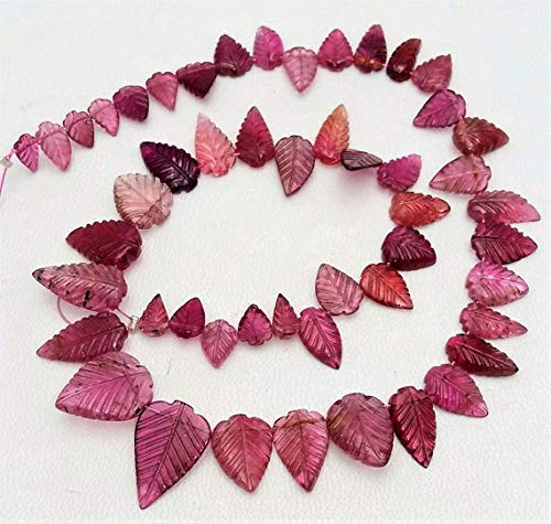 (GemAbyss Beads Gemstone New Arrive Rare Item AAA+++ Quality Natural Pink Tourmaline Leaf Shaped Beads, 4x7 mm - 11x12 mm, 71 ct.Approx, 13 inch Strand[E1101] Code-MVG-33405)