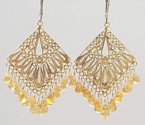 (Filigree Chandelier Earrings Natural Citrine Faceted Drop Beads 14 kt Gold filled Pierced Lever Back Gorgeous Handmade USA)