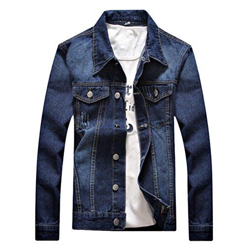 Jacket Slim Morbido Sleeve E Classic Washed Zhuhaitf Blue Long Coat Confortevole Denim Mens Stylish 1xPnzq