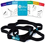 Yoga Stretching Strap with Loops for Flexibility Exercises Physical Theraphy Fitness Pilates - Elastic Stretch Strap - Set of Yoga Cards & Carry Bag Included