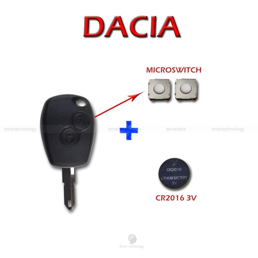 Caparazón + hoja + Batería + botones para mando llave 2 teclas Dacia Logan Duster Sandero Express
