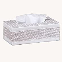 Leather Tissue Box Cover Napkin Holder Decorative Storage Box for Home Office (big, white woven)