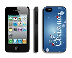 Iphone 4S Case,Blue Merry Christmas Letters Silicone Black Case For Apple Iphone 4/Iphone 4s Cover Case