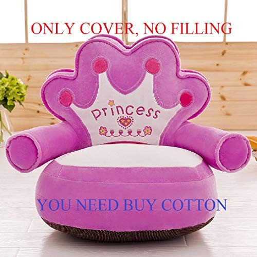 ((Only Cover No Filling) Princess Imperial Crown Plush Bean Bag,Pink Blue Chair Seat for Children,Cartoon Tatami Chairs,Birthday Gifts for Boys and Girls, Sofa Baby Sits. This is The Cover (Purple))