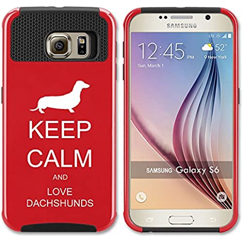 Samsung Galaxy S7 Edge Shockproof Impact Hard Case Cover Keep Calm and Love Dachshunds (Red ) Sales