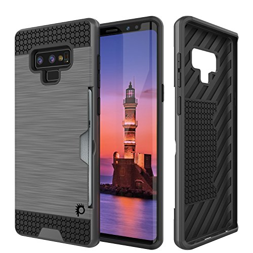Galaxy Note 9 Case, PUNKcase [Slot Series] [Slim Fit] Dual-Layer Armor Cover w/Integrated Anti-Shock System, Credit Card Slot & PUNKSHIELD Screen Protector for Samsung Note 9 [Grey]