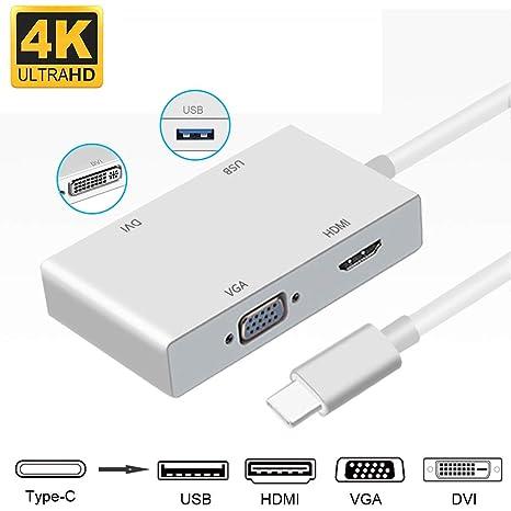 neefeaer Adaptador Tipo C a HDMI, USB-C (Tipo C) a HDMI DVI VGA ...