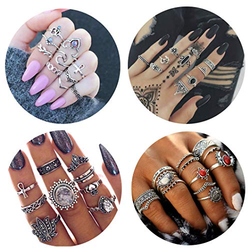 FIBO STEEL 42-63 Pcs Vintage Knuckle Rings for Women Girls Stackable Midi Finger Ring Set (A1: 42 Pcs a Set) by FIBO STEEL (Image #7)