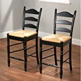 Kitchen Countertop Chairs Target Marketing Systems 24-Inch Set of 2 Ladder Back Stools with Rush Seats and Turned Legs, Set of 2, Black