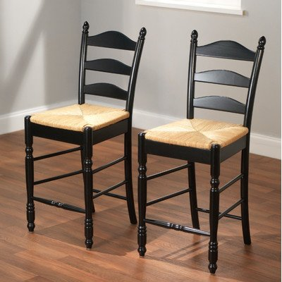 Target Marketing Systems 24-Inch Set of 2 Ladder Back Stools with Rush Seats and Turned Legs, Set of 2, Black
