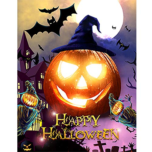 INFELING 5D DIY Diamond Painting Paint by Numbers Kits for Adult, Halloween Full Drill Diamond Embroidery Paintings Pictures Arts Craft for Home Decoration, 3040cm/1216inch -