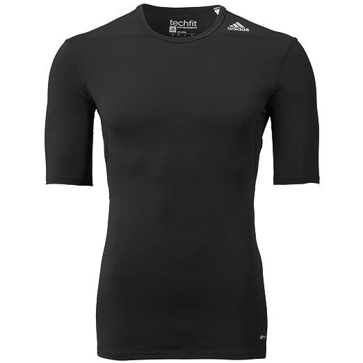 916b4d3d0 adidas Performance Men's Techfit Compression Base Layer Short Sleeve Tee,  Black/Black, Large