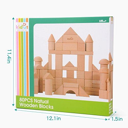KAJA Classic Wooden Building Blocks Sets 80 Pcs Natural Blocks for Toddlers Educational Preschool Learning Toys with Carrying Bag