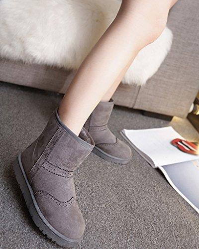 Minetom Damen Winter Warme Stiefel Mode Stiefeletten Flache Ferse Schneestiefel Rutschfest Boots Schuhe Grau