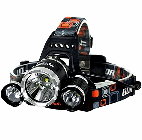 KAZOKU Bright Headlight Headlamp Flashlight Torch 3 CREE XM-L2 T6 LED with 4 PCS Rechargeable Batteries and Wall Charger
