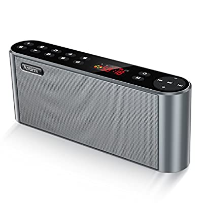 Antimi Bluetooth Speaker,FM Radio Player Stereo Portable Wireless Speaker Drivers with HD Sound, Built-in Microphone, High Definition Audio and Enhanced Bass,Feel free to switch your radio(Black)