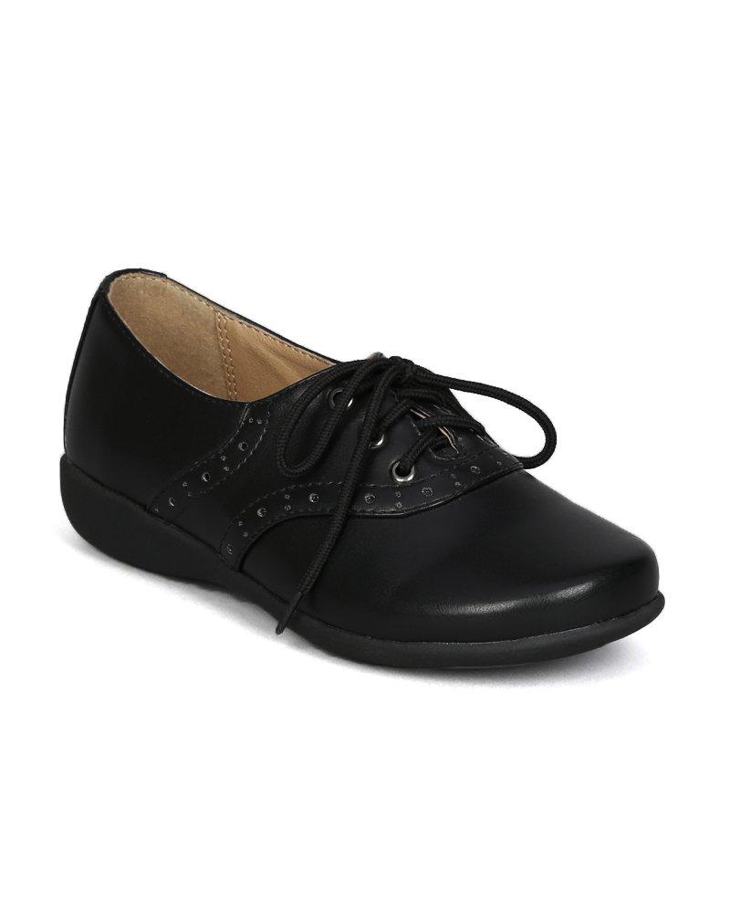 School Rider Nicki-363E Leatherette Lace Up School Uniform Shoes (Toddler/ Little Girl/ Big Girl) - Black (Size: Little Kid 13)