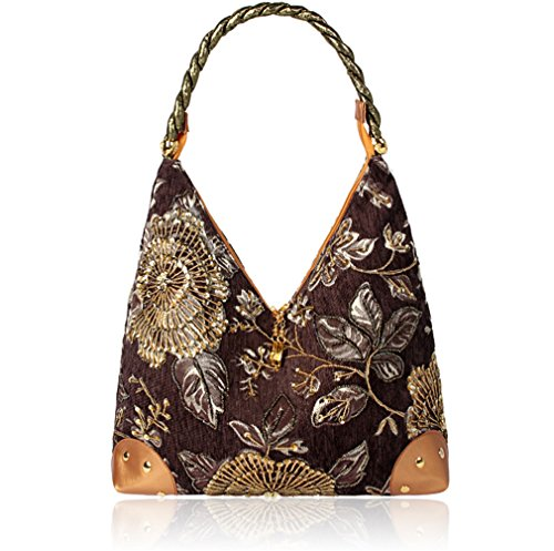 Bag Brown Style Embroidered Vintage Bag Shoulder Spring Bag Single Embroidery Retro Flower 2018 Handbag Female Bag Bag Bead wTqa8yX