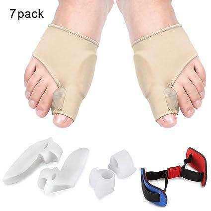 Hallux Valgus separador, ortopédico Corrección Set con vendaje y gel Estiramiento de dedos para Juanetes Cuidado ...