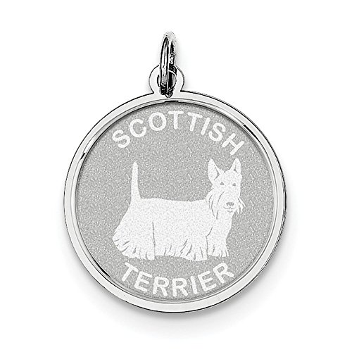 Lex & Lu Sterling Silver Scottish Terrier Disc - Disc Scottish Terrier Charm