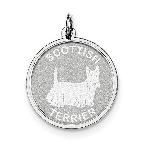 Lex & Lu Sterling Silver Scottish Terrier Disc - Scottish Terrier Disc Charm