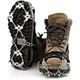 OUTAD Crampons Non-slip Shoes Cover 1 Pair 18 Teeth Claws Stainless Steel Chain Outdoor Ski Ice Snow Hiking Climbing Traction Cleats