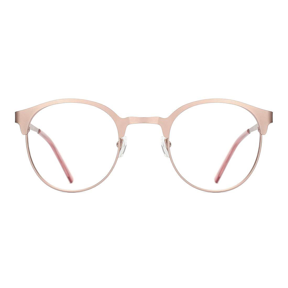 TIJN New Round Designer Metal Eyeglasses Frames with Clear Lens (Rose Gold, Transparent)