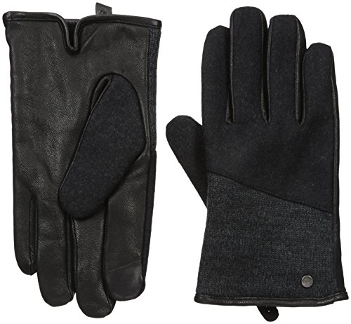 Calvin Klein Men's Mixed Media Knit Insert Leather Glove ...