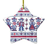 Christmas Ornaments Traditional Swiss Folklore Pattern Holiday Tree Ornament Both Sides Star Ceramic Ornament Crafts Christmas Gifts