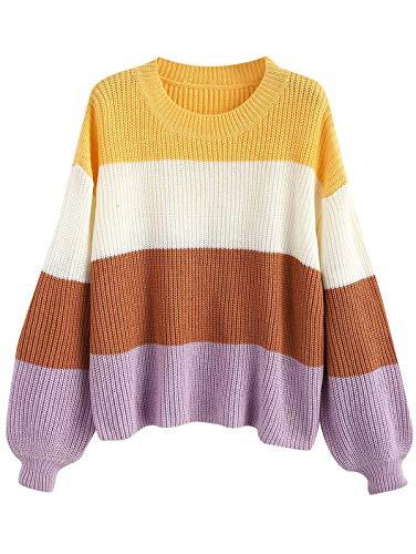 ZAFUL Women's Lantern Sleeve Stripes Sweater Color Block Pullover Knit Top ()