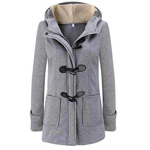 HULKAY Women's Hooded Coat Elegant Button Zipper Long Sleeve Hoodie Jacket with Pockets Outwear Pullover(Gray,S) ()
