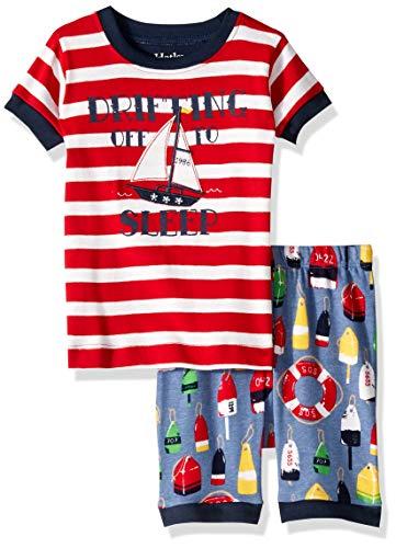Hatley Boys' Little Organic Cotton Short Sleeve Appliqué Pajama Sets, Distressed Buoys, 4 - Set Hatley Pj