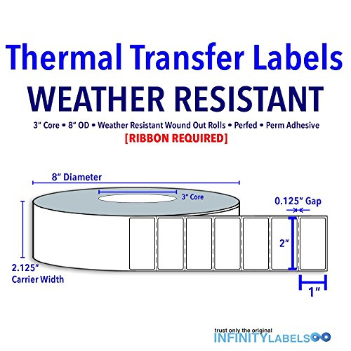 2'' X 1'' Thermal Transfer Specialty Labels - Gloss White Polyester Film - 3C 8OD - Perfed [649517] by Infinity Labels