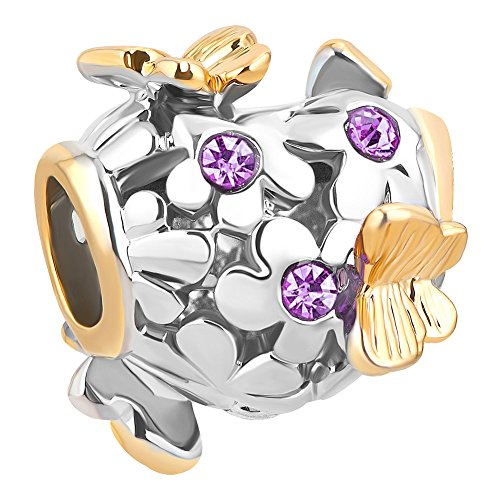 Q&Locket Butterfly Flower Charm Filigree Spacer Charms for Bracelets (Purple)